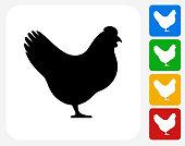 Chicken Icon Flat Graphic Design
