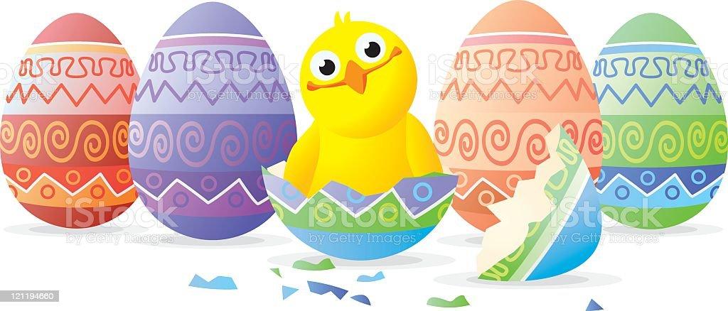 Chicken in easter egg royalty-free stock vector art