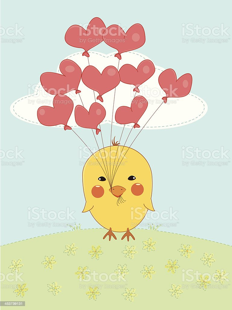 Chicken in Love royalty-free stock vector art