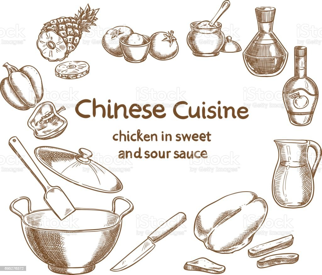 Chicken in sweet and sour sauce, ingredients of the food vector art illustration
