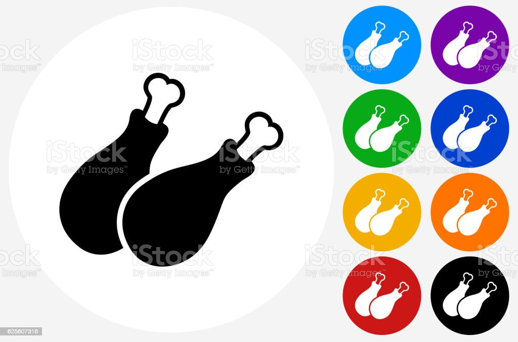 Chicken Legs Icon on Flat Color Circle Buttons vector art illustration