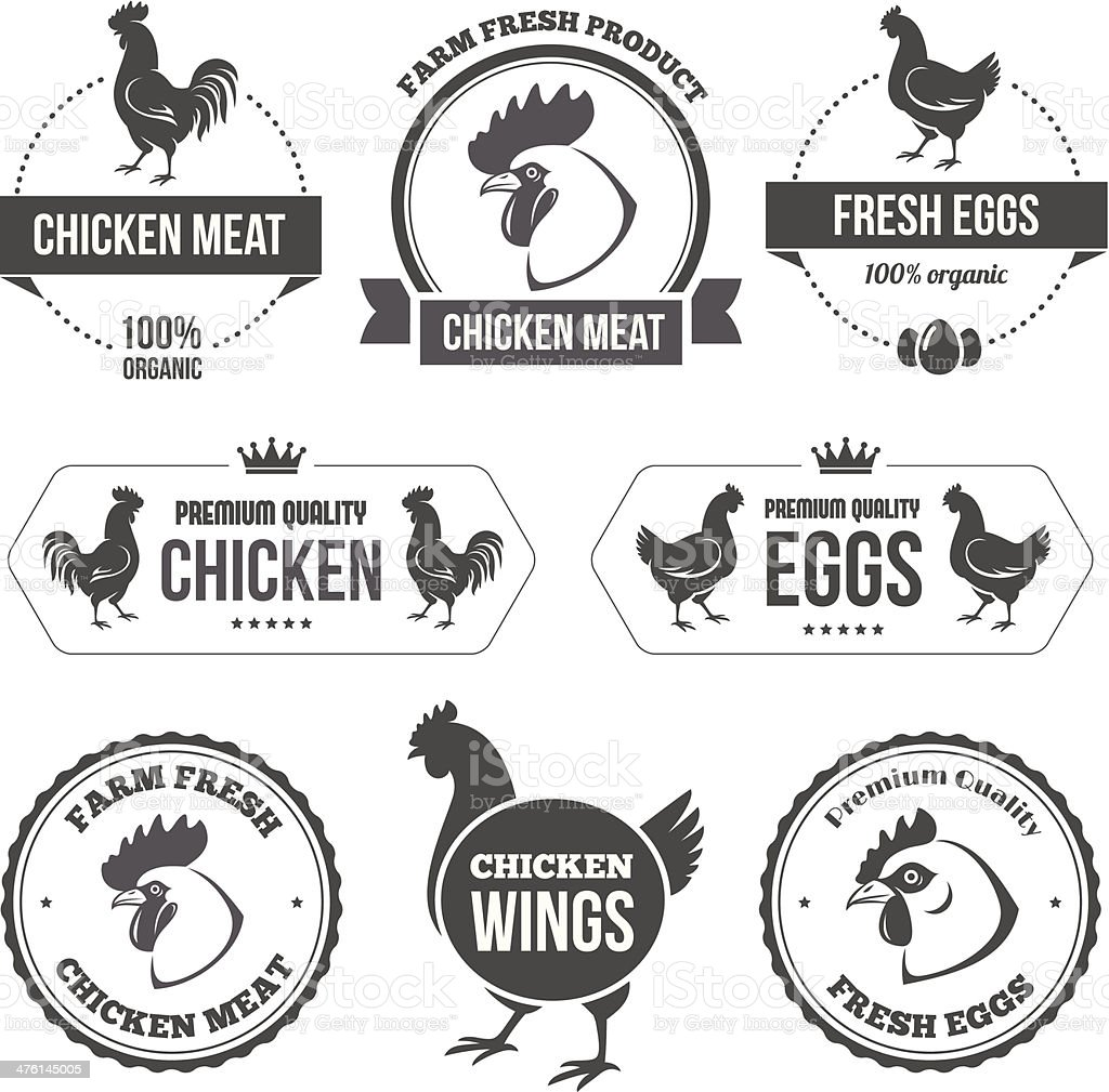Chicken meat and eggs 1 vector art illustration