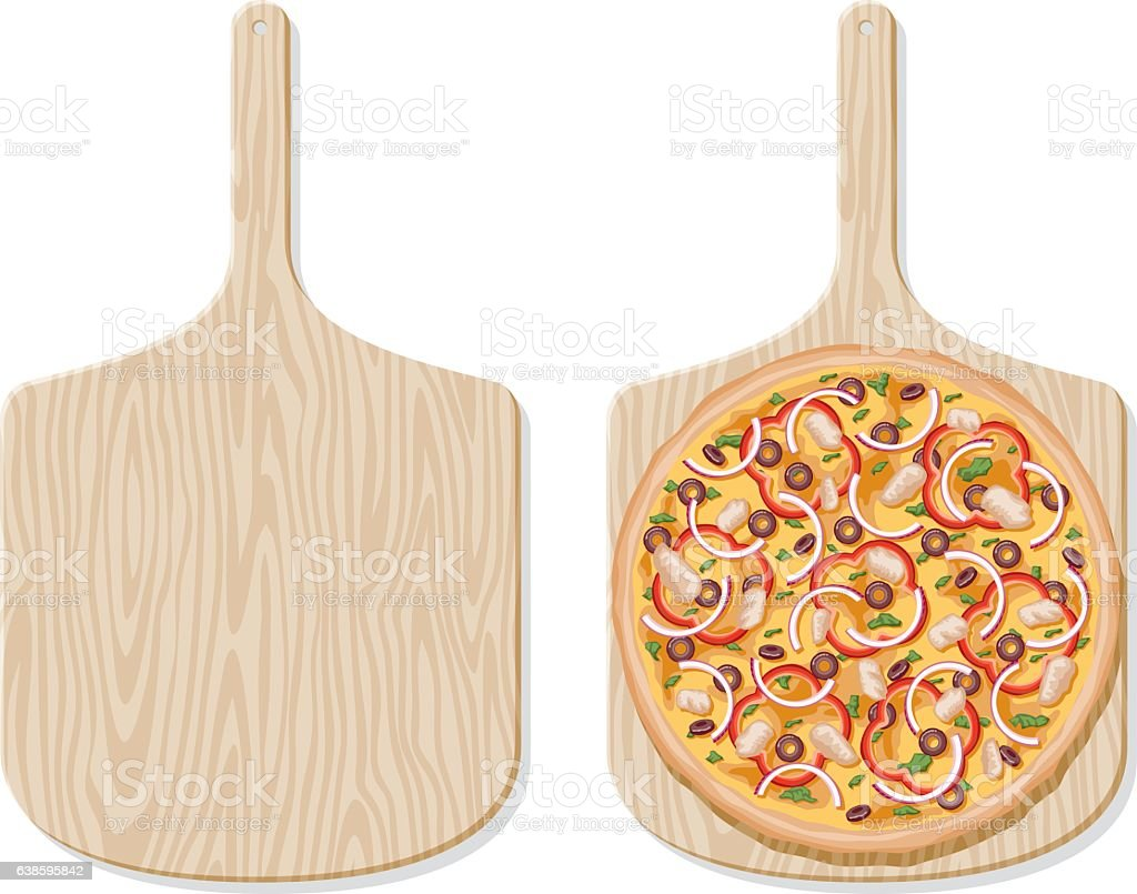 BBQ Chicken Pizza on a traditional wooden paddle, overhead view vector art illustration