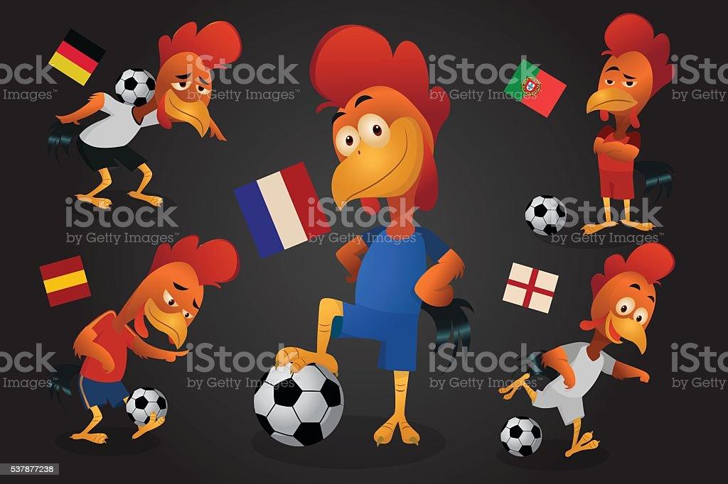 football, jeu de football de poulet mascotte. France Championnat d'Europe stock vecteur libres de droits libre de droits