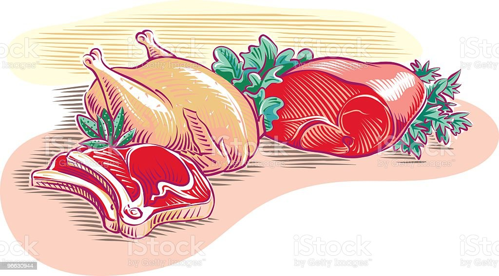 Chicken, steak and roast beef vector art illustration