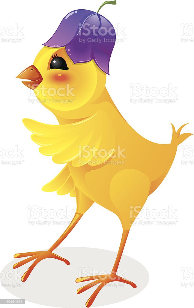 Chicken with flower cap royalty-free stock vector art