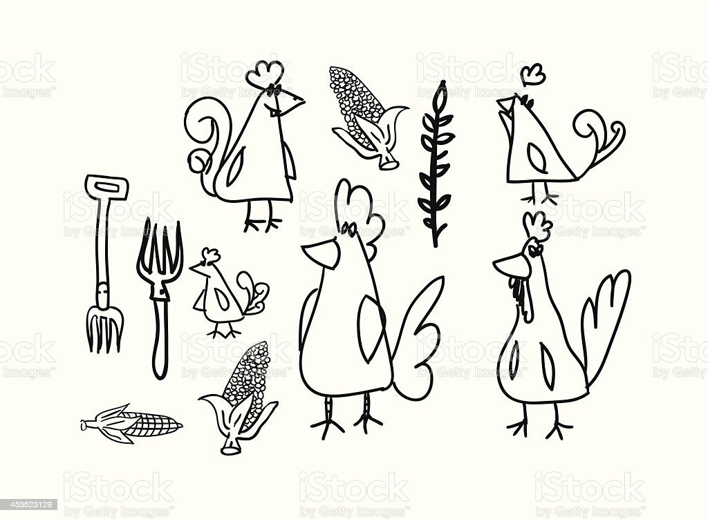 Chickens and hens collection royalty-free stock vector art