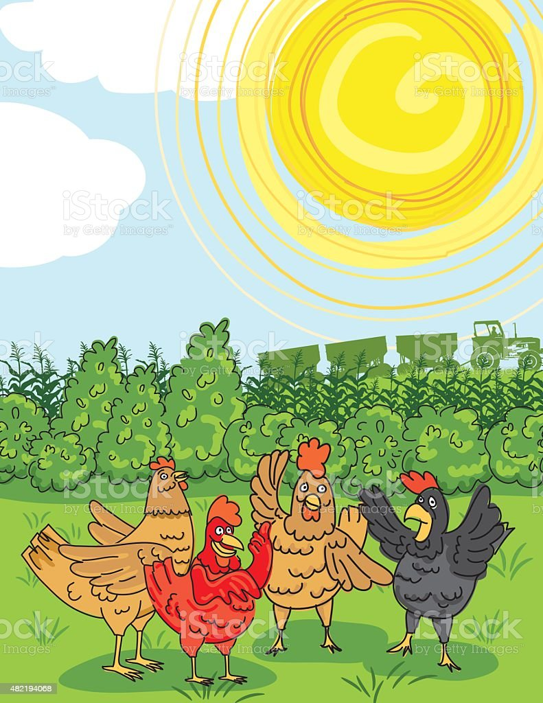 Chickens Gossiping In The Grass On A Farm vector art illustration
