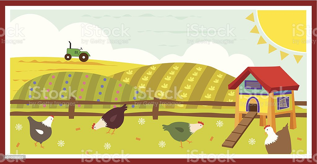 Chickens in the field royalty-free stock vector art