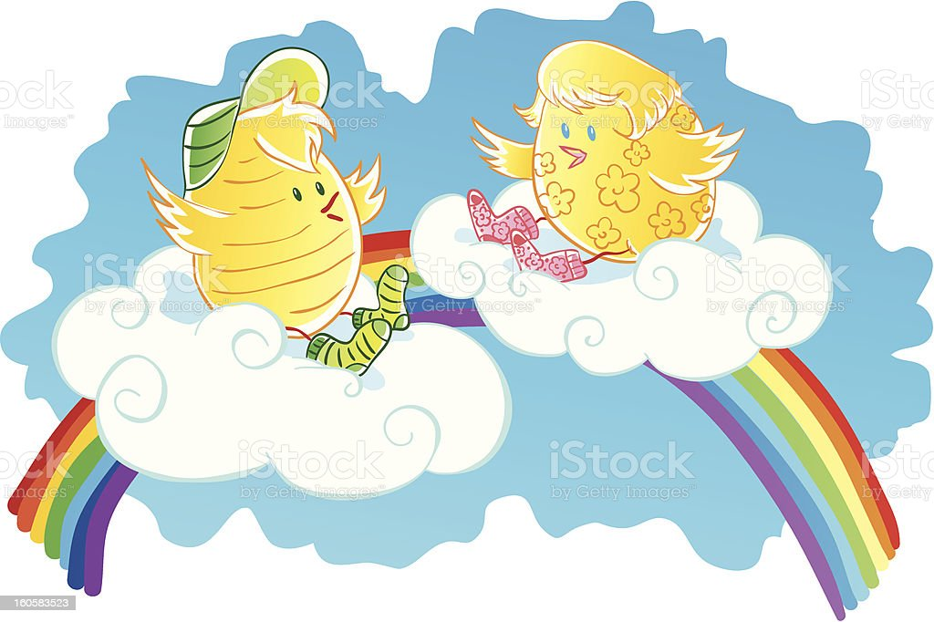 Chickens on clouds royalty-free stock vector art
