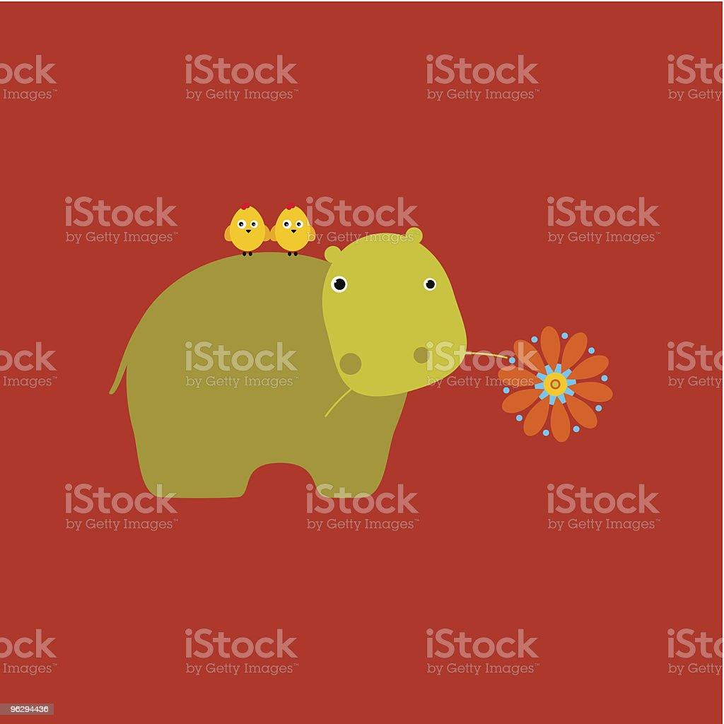 chickens_and_hippopotamus royalty-free stock vector art