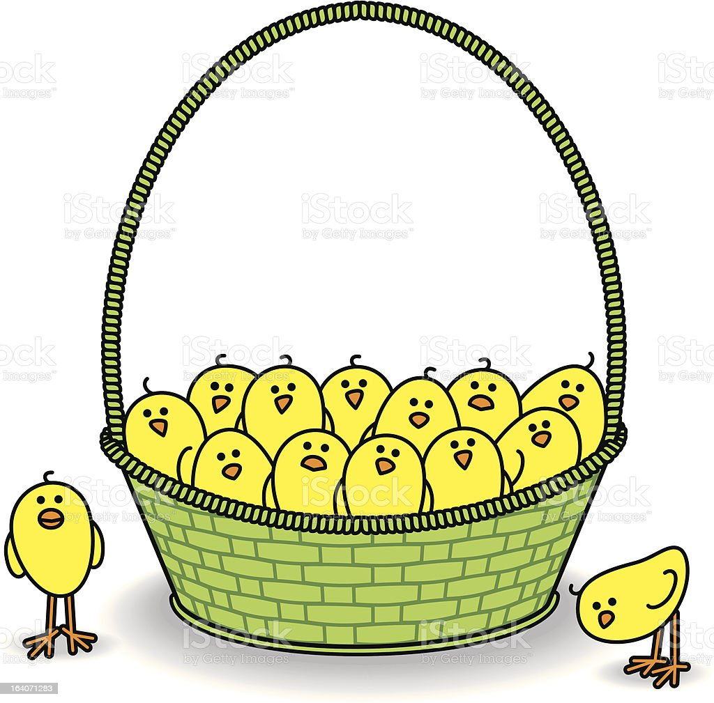 Chicks in a Green Basket all Staring royalty-free stock vector art