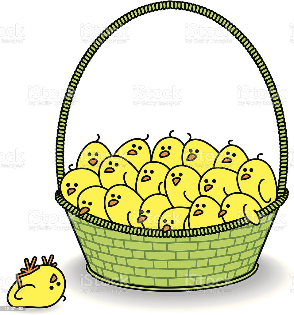 Chicks in Green Basket with One Fallen Out royalty-free stock vector art
