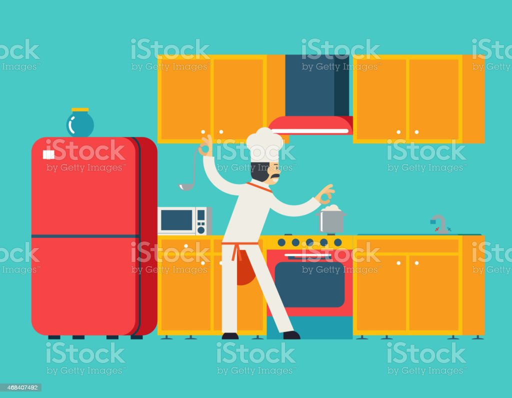 Chief Cook Food Dish Room Kitchen Furniture House Interior Icons vector art illustration