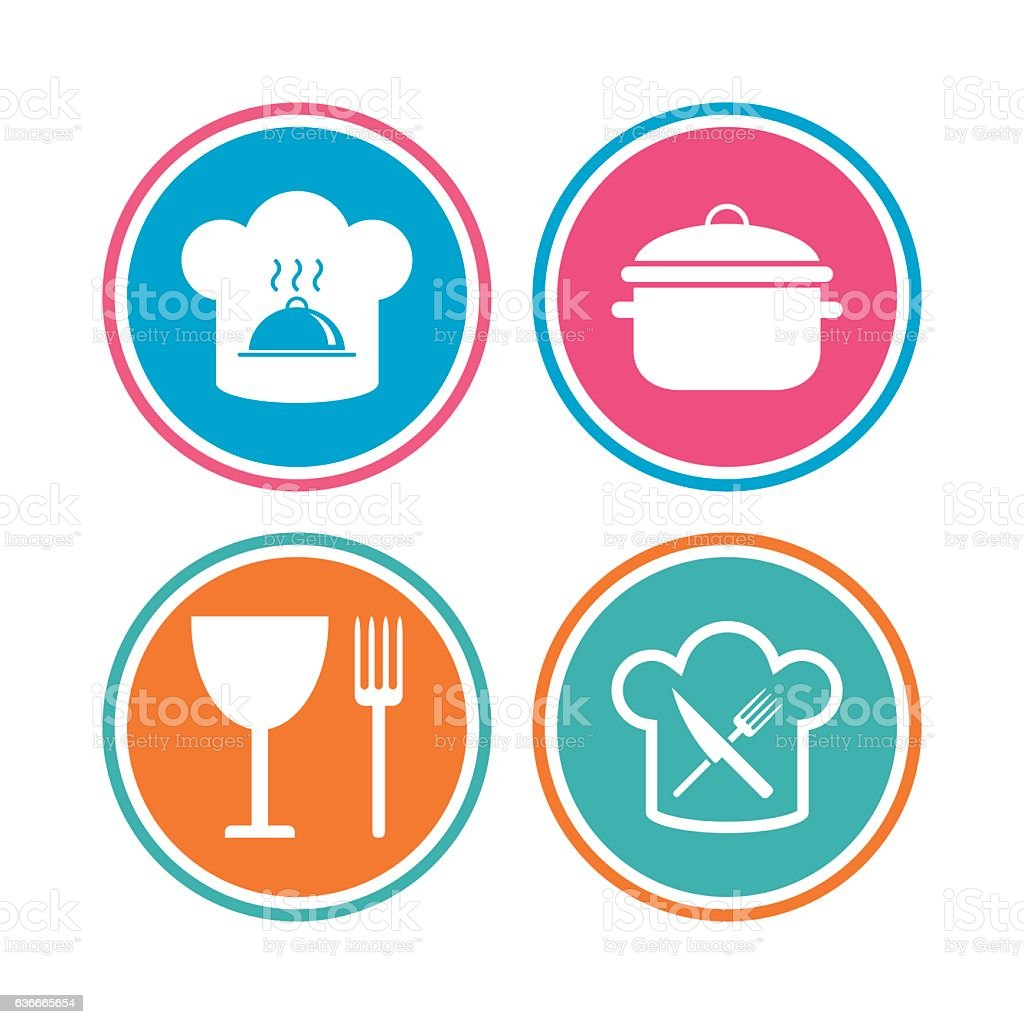 Chief hat, cooking pan icons. Fork and knife. vector art illustration