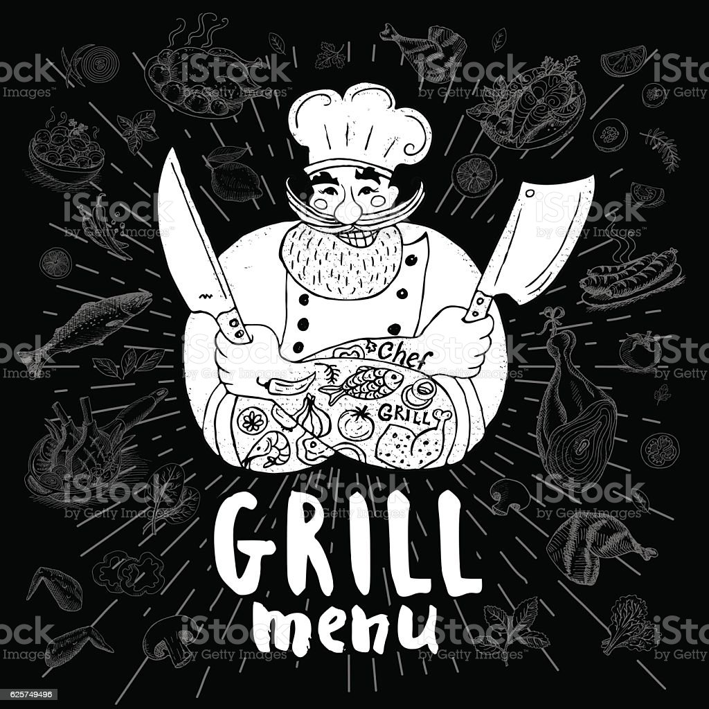 Chif logo menu set vector art illustration