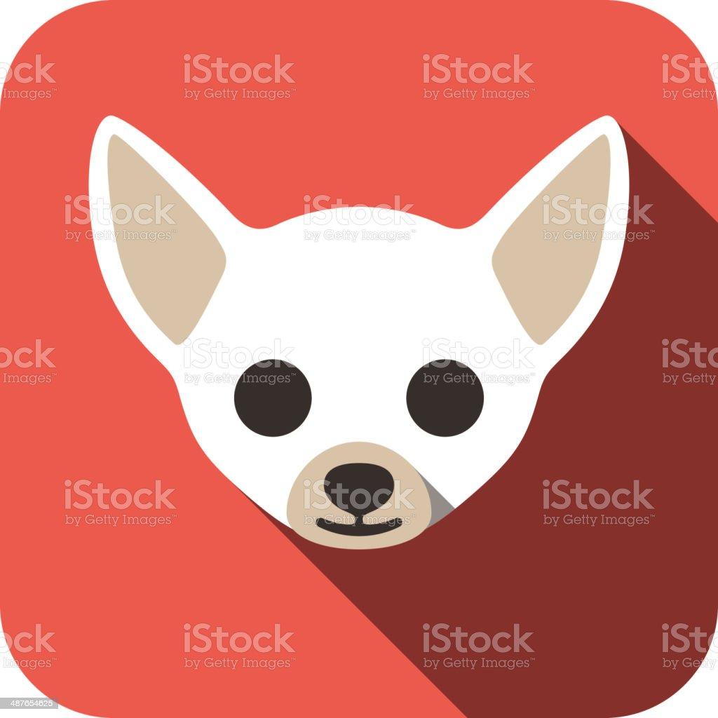 Chihuahua animal face flat icon vector art illustration