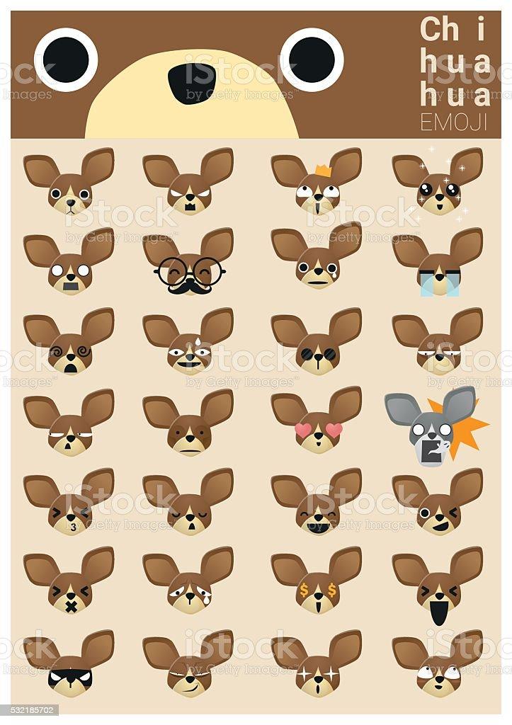 Chihuahua emoji icons vector art illustration