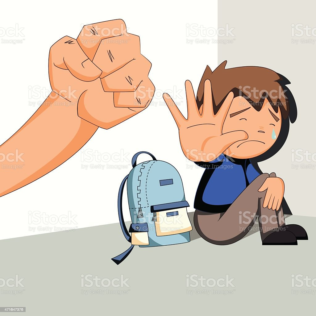 Child abuse, bullying, harassment vector art illustration