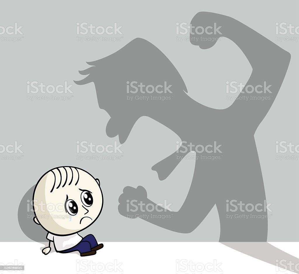 child abuse vector art illustration
