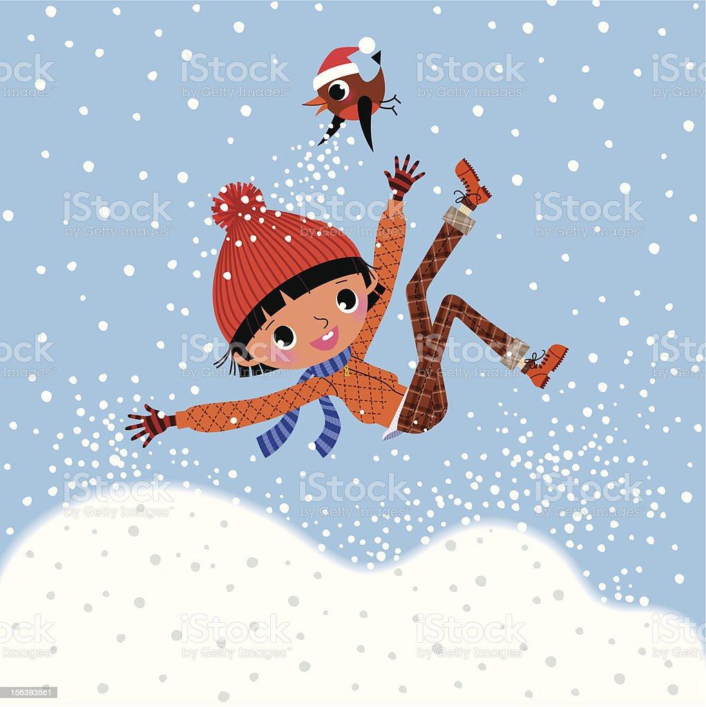 Child and Robin. vector art illustration