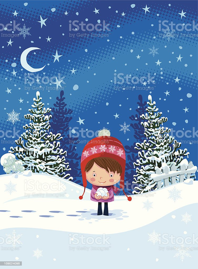 Child and snowy weather royalty-free stock vector art