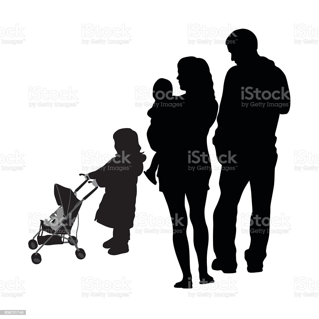 Child And Stroller Family Silhouette Vector vector art illustration