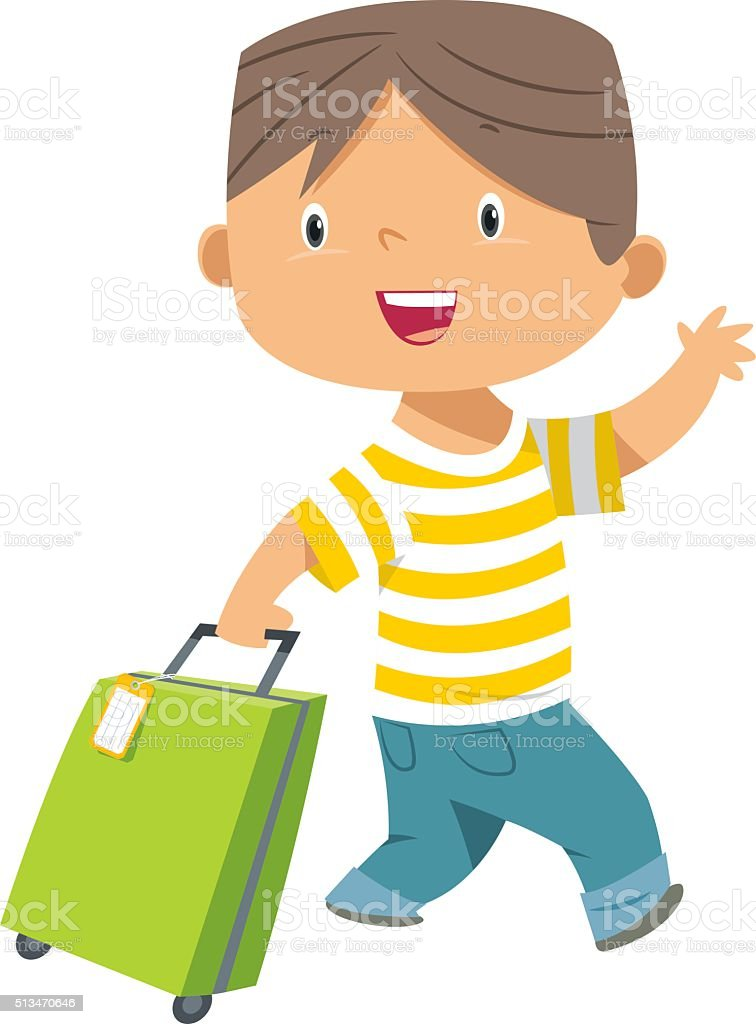 child and suitcase vector art illustration