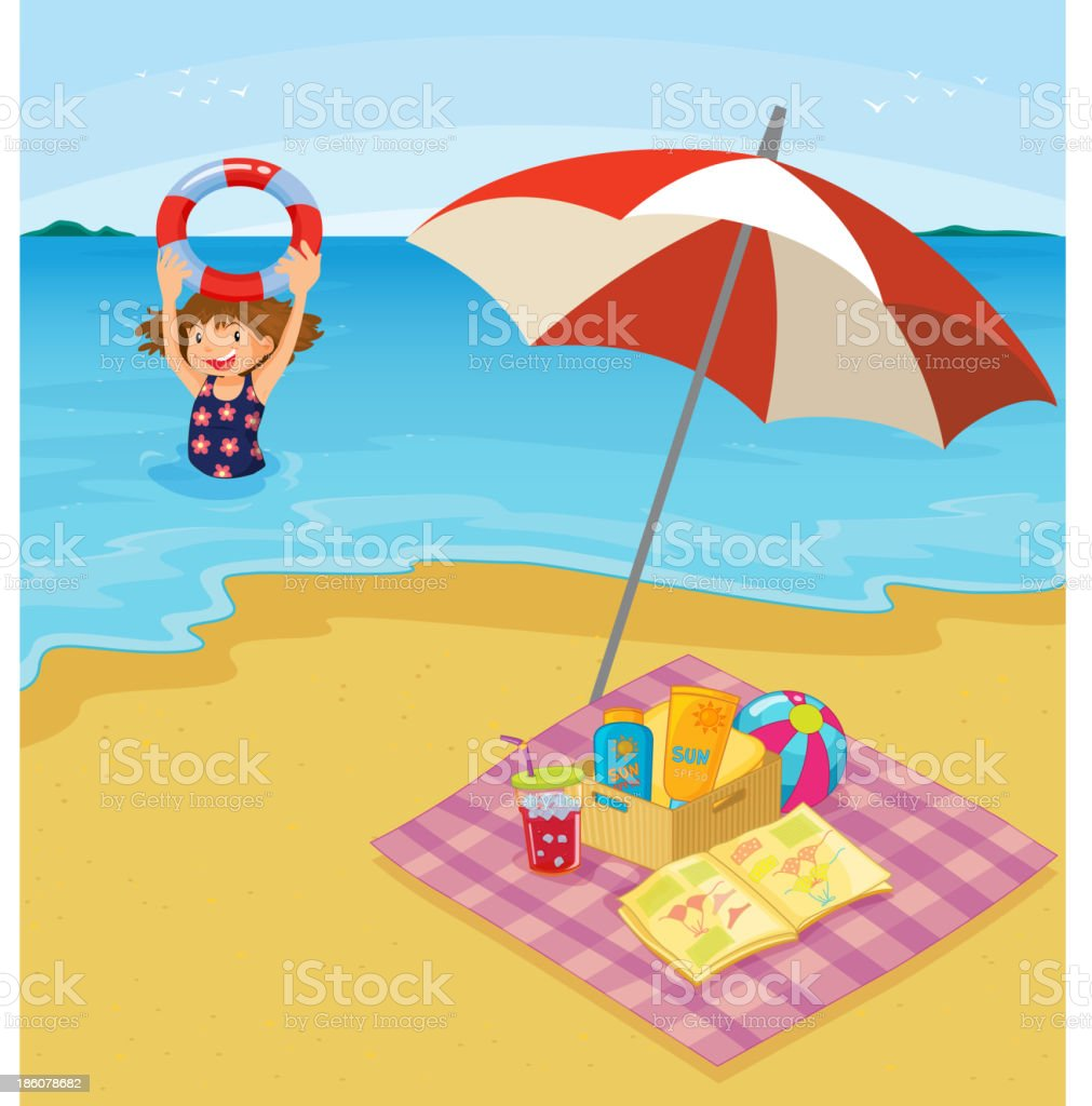Child at the beach royalty-free stock vector art
