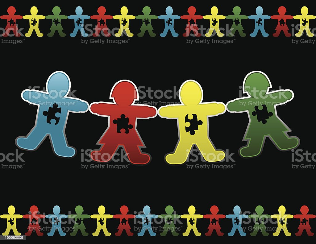 Child Autism Paper Doll Background royalty-free stock vector art