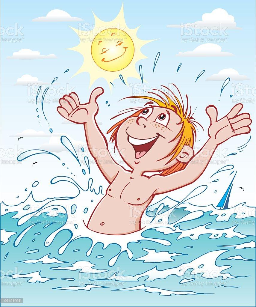 Child bath in sea vector art illustration