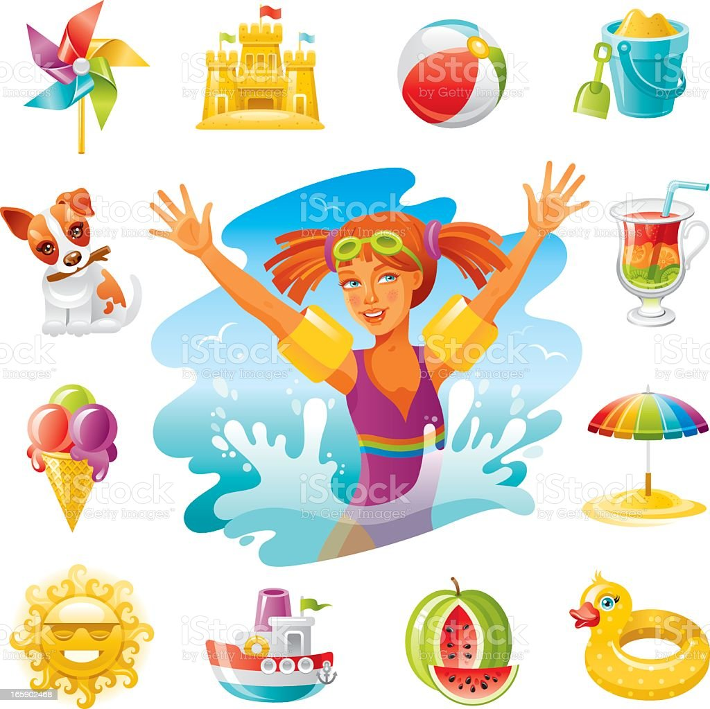 Child beach icons vector art illustration