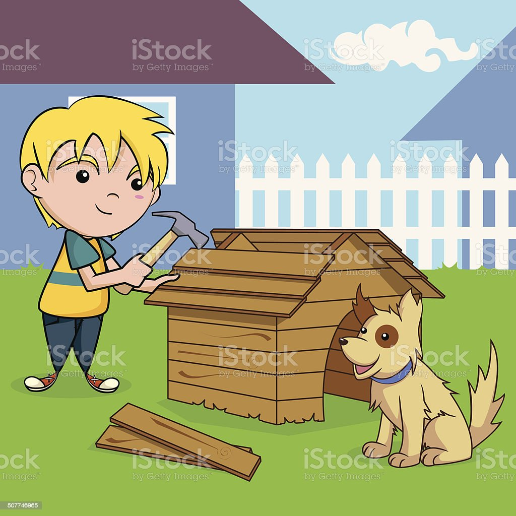 Child building dog house. vector art illustration
