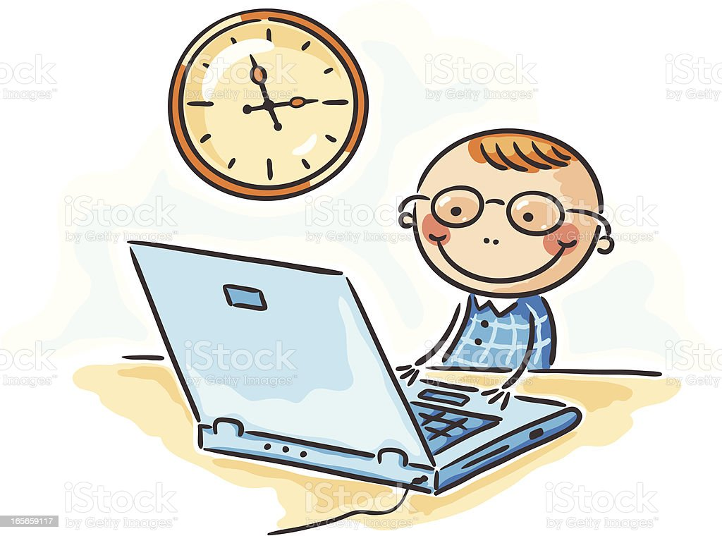 Child, clock and notebook royalty-free stock vector art
