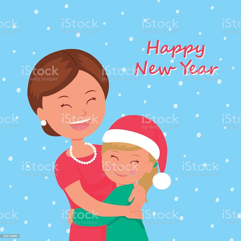 Child congratulates his mother Happy New Year. vector art illustration
