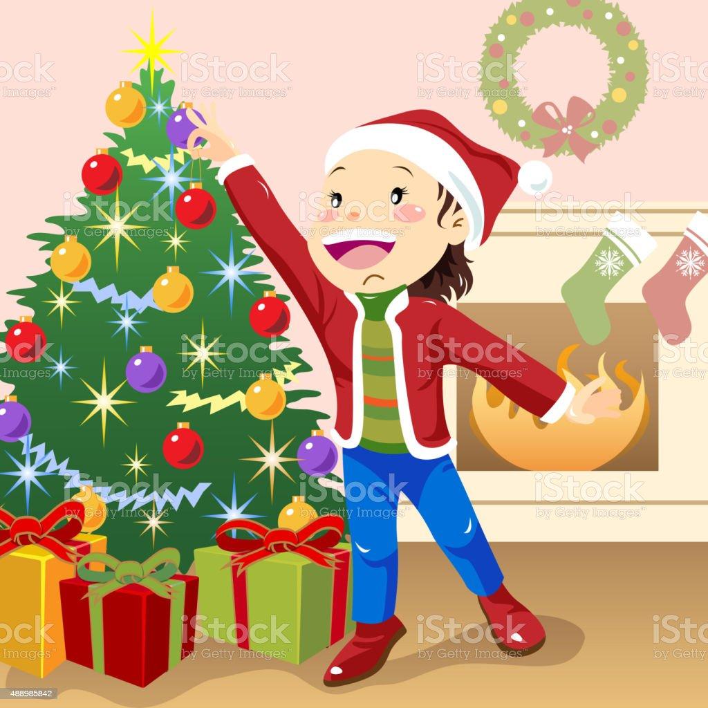 Child decorating christmas tree vector art illustration