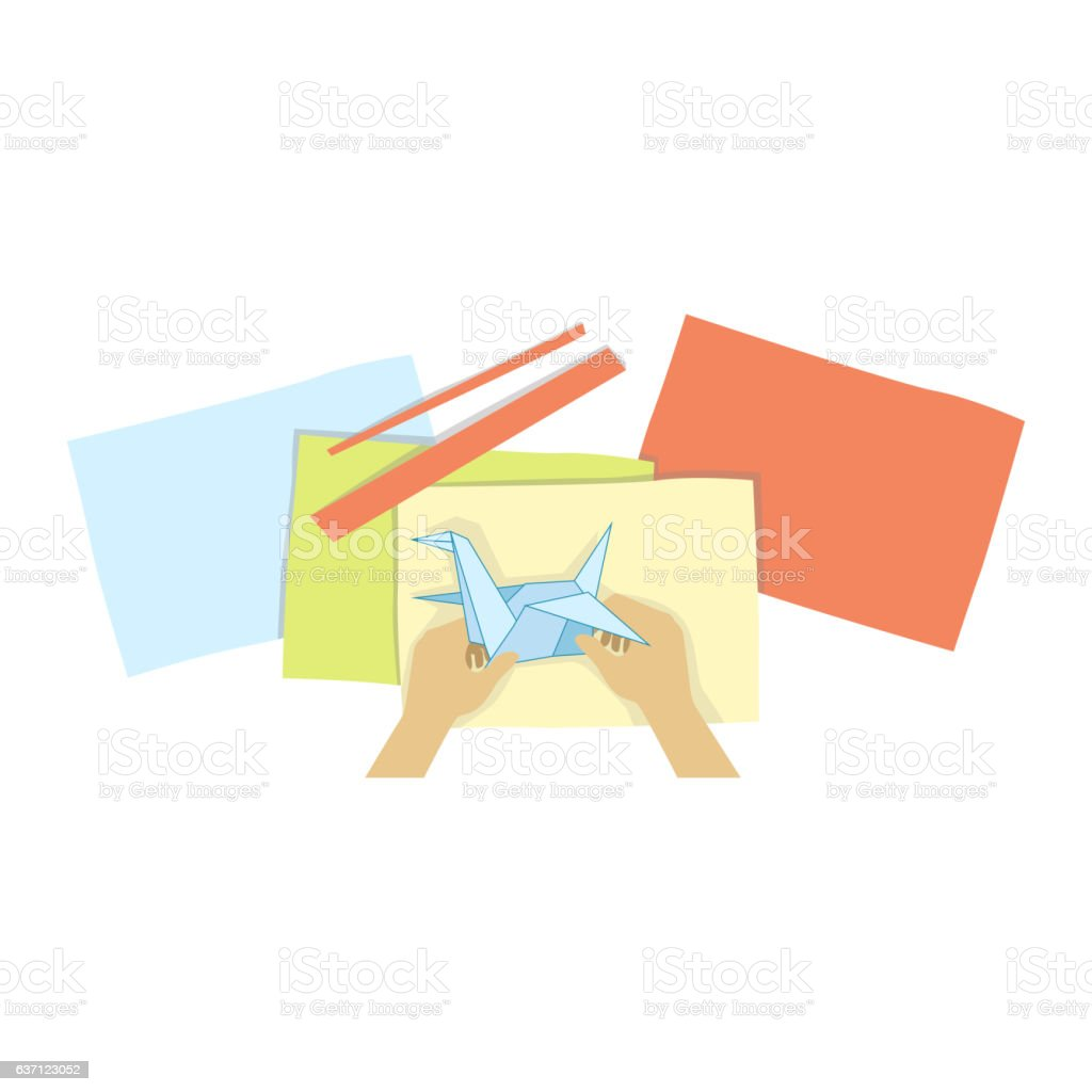 Child Doing Origami Illustration With Only Hands Visible From Above vector art illustration