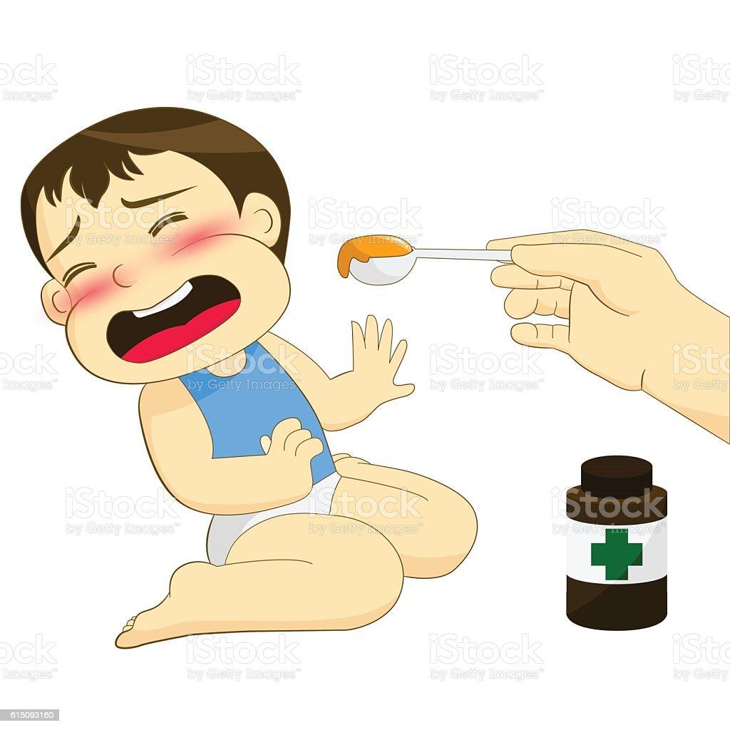Child don't like syrup vector art illustration