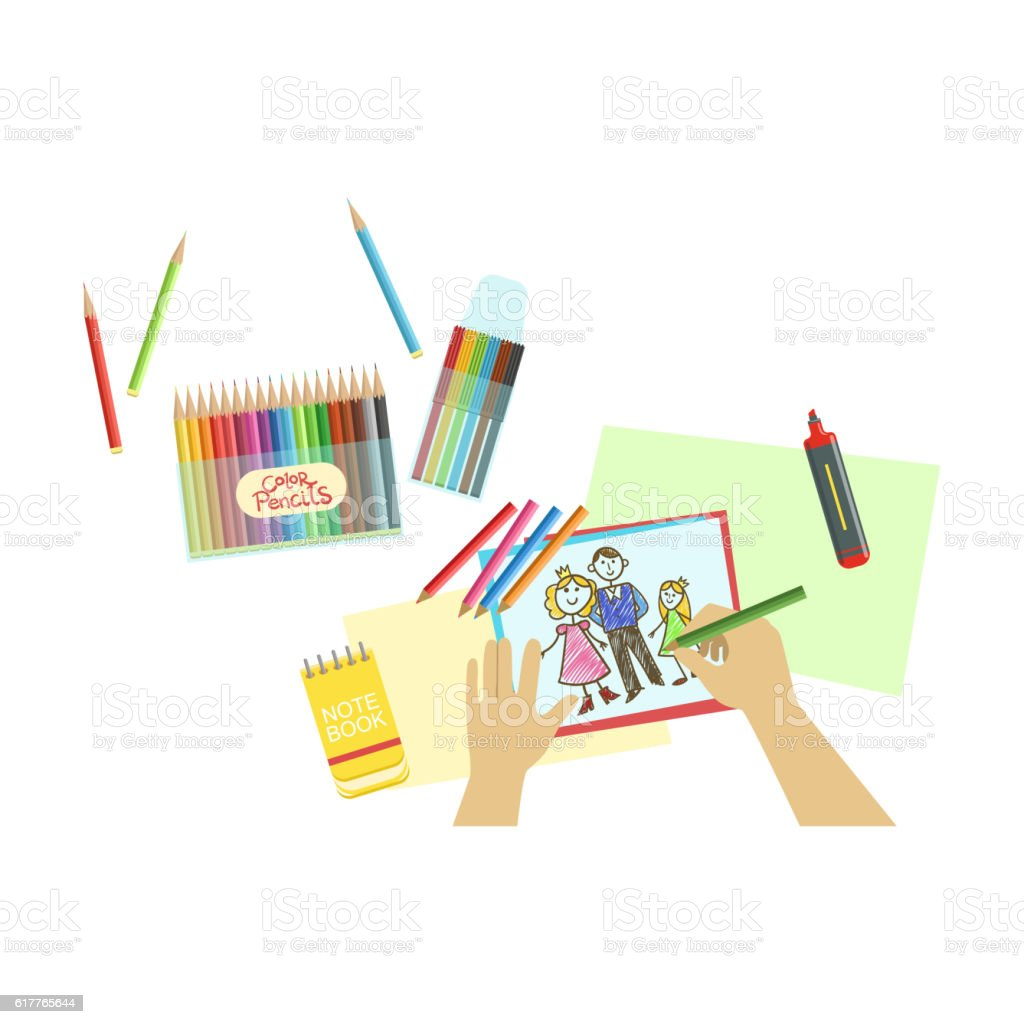 Child Drawing Portrait Illustration With Only Hands Visible From Above vector art illustration