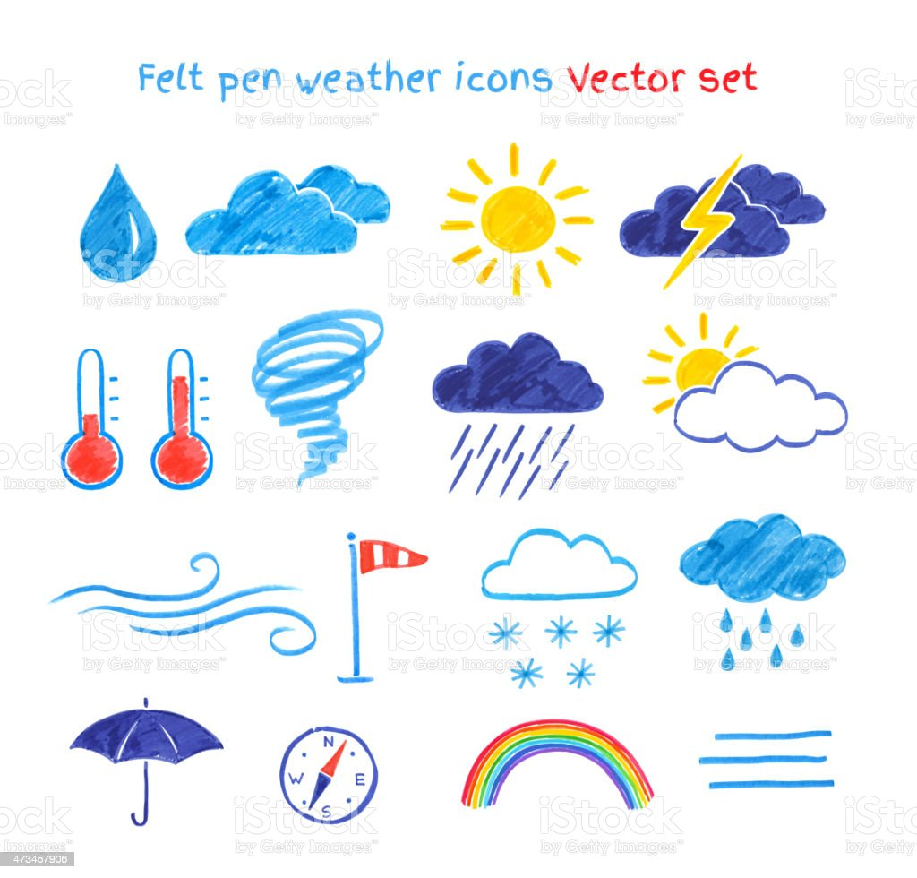 Child drawings of weather symbols. vector art illustration
