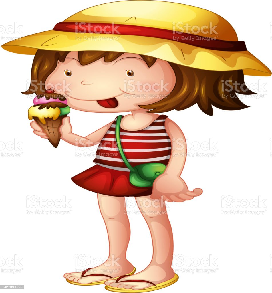Child eating an ice cream royalty-free stock vector art