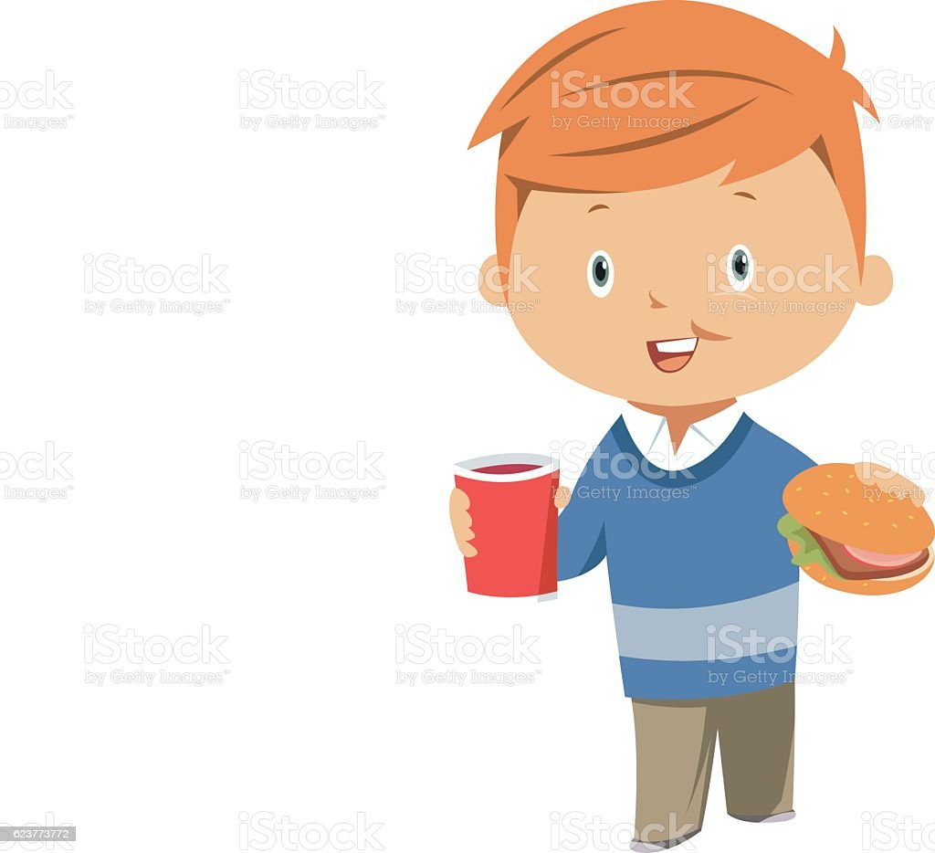 Child eating hamburger and soda vector art illustration