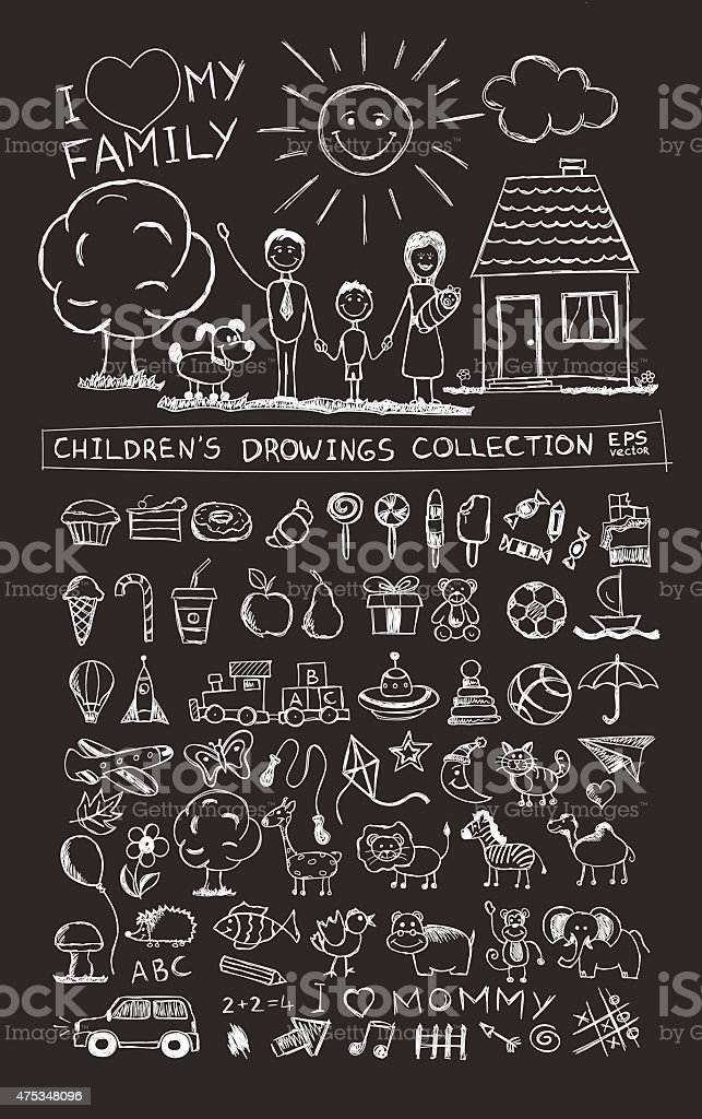 Child hand drawing illustration. School blackboard sketch image vector doodles vector art illustration