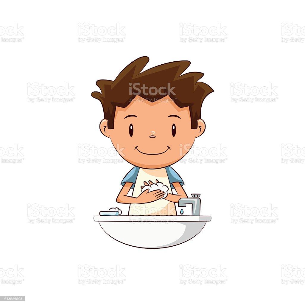 Child hand washing vector art illustration