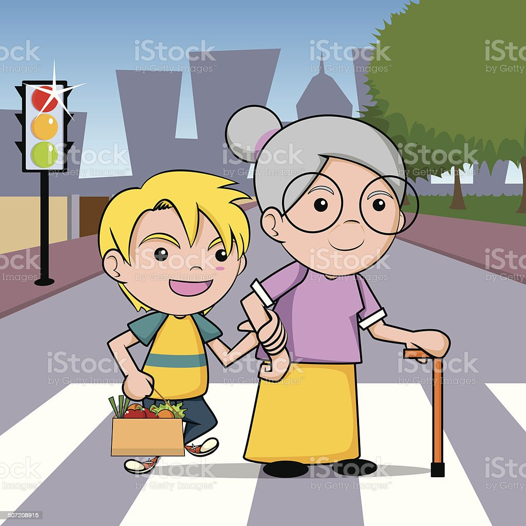 Child helping old lady cross the street. vector art illustration