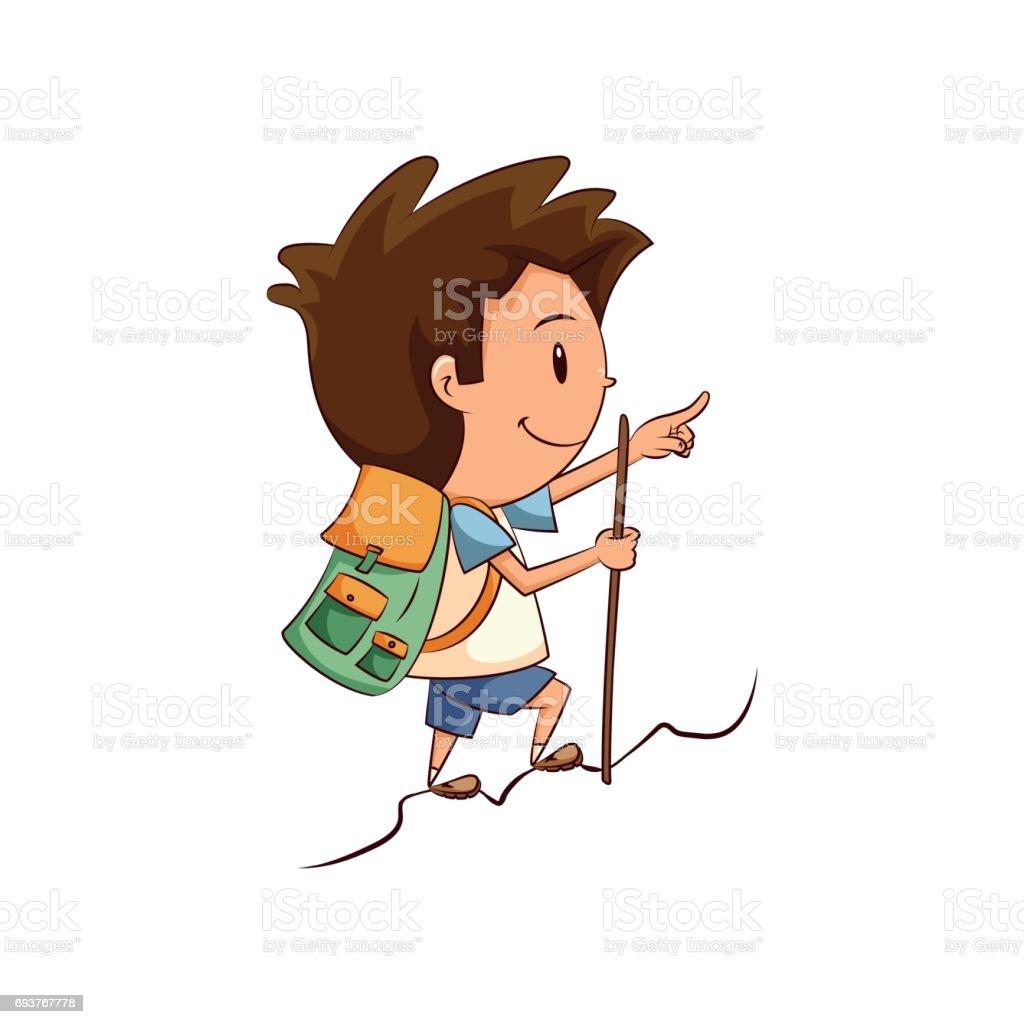 Child hiking vector art illustration