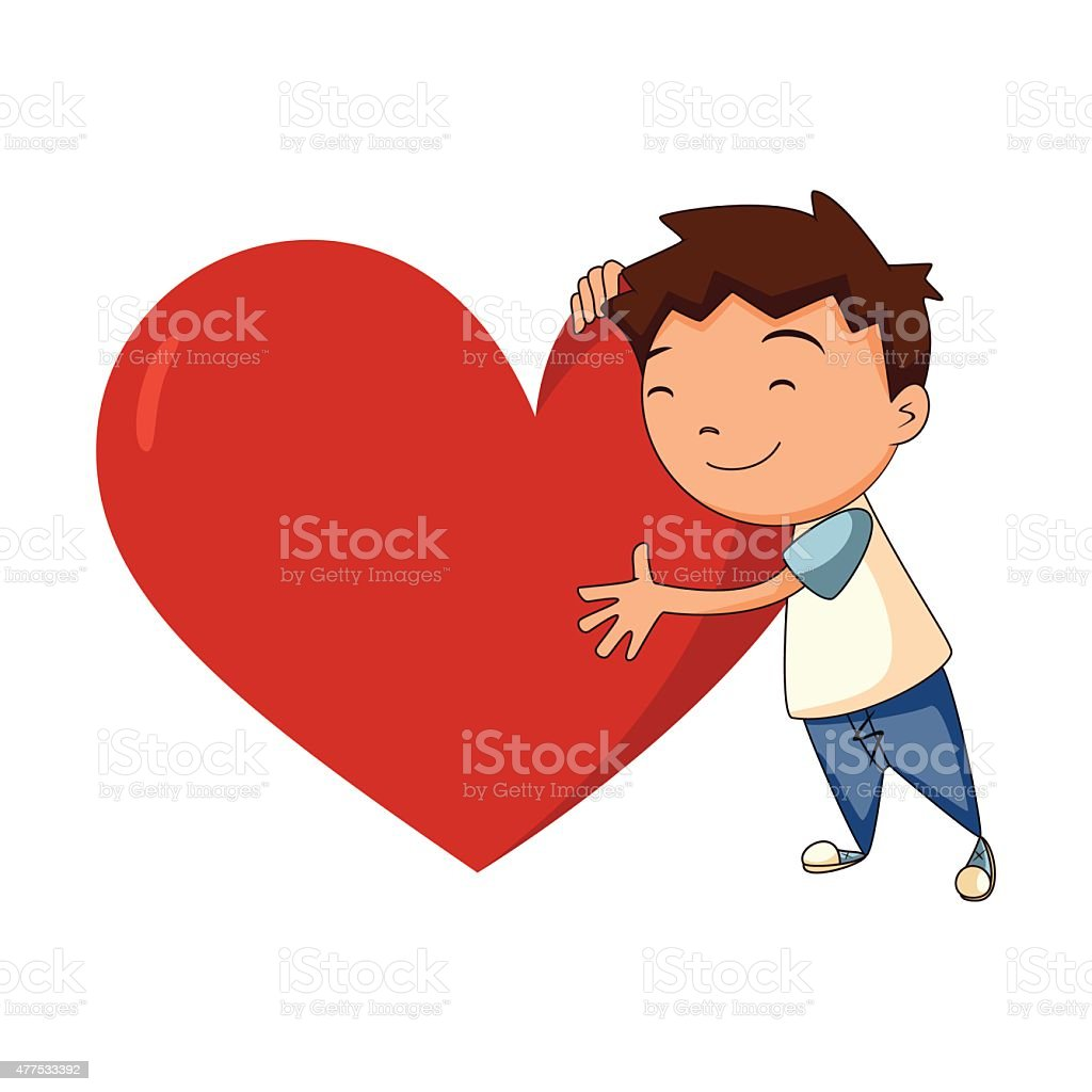 Child hugging heart vector art illustration