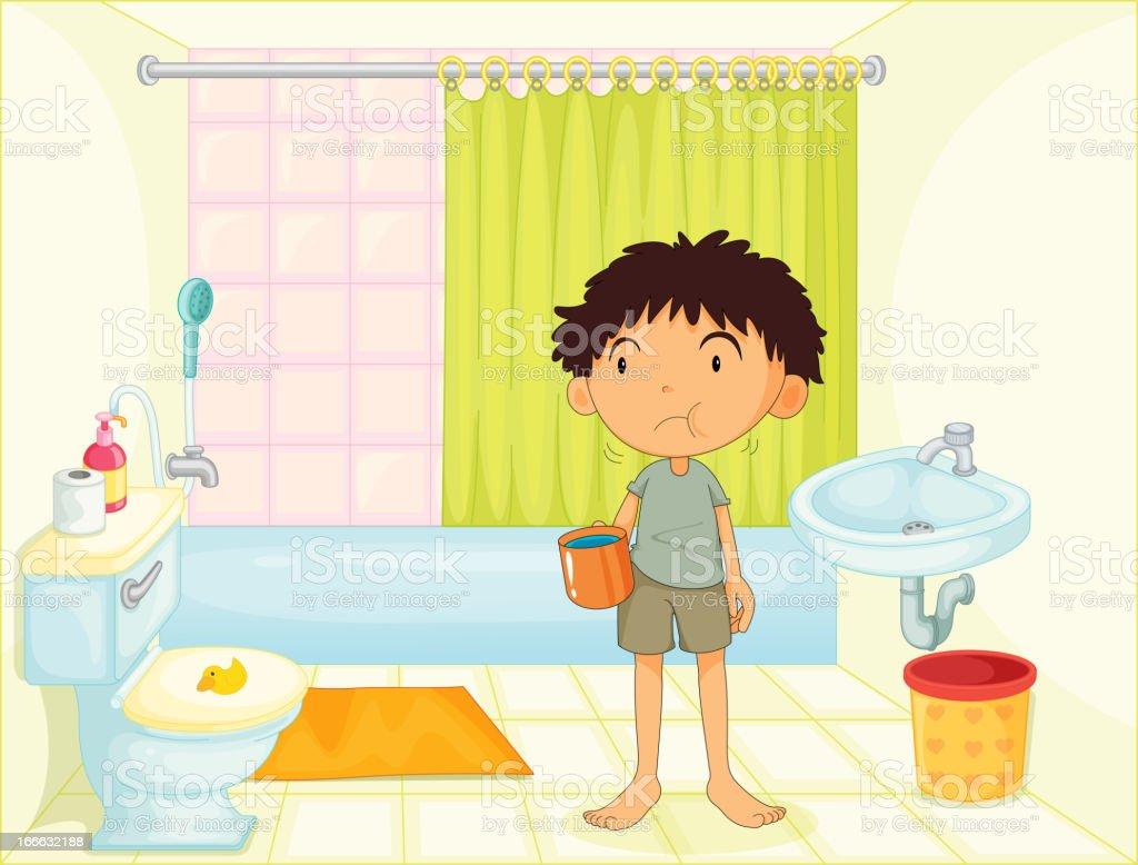 Child in a bathroom royalty-free stock vector art