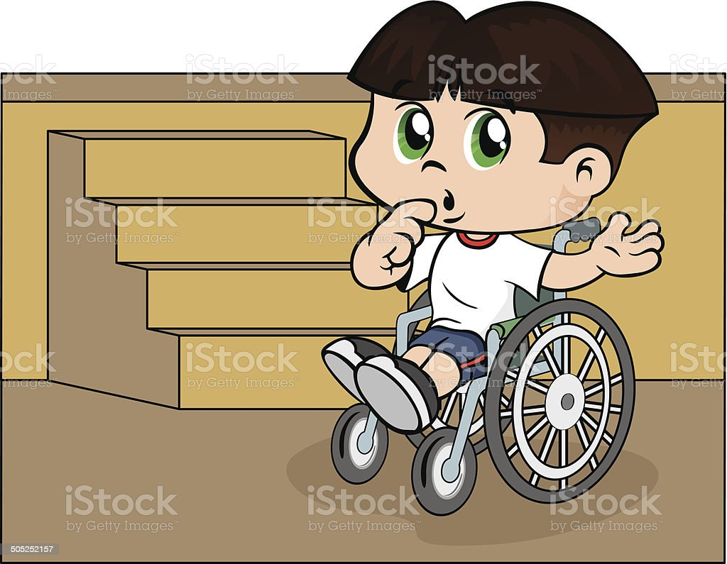 Child in a wheelchair on a ladder royalty-free stock vector art