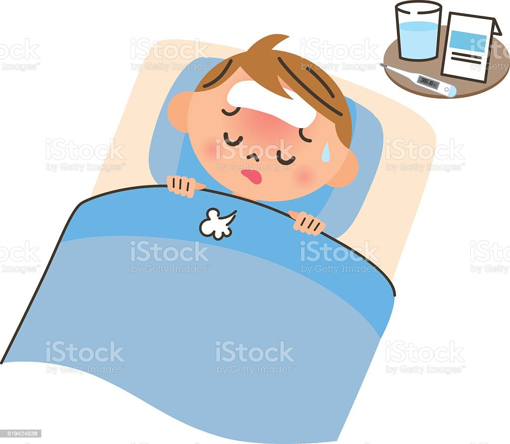 Child in bed for a disease vector art illustration